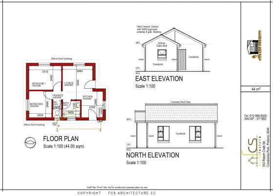 Plan for 44m² 2bed 1 bath