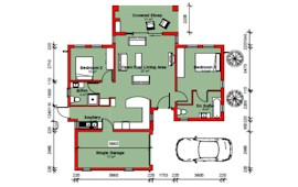 120 m² 3 bed 2 bath 1 garage