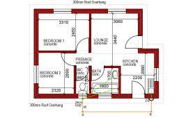 44m² 2 Bed 1 bath