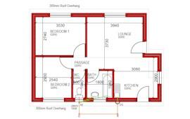 55 m² 2 bed 1 bath